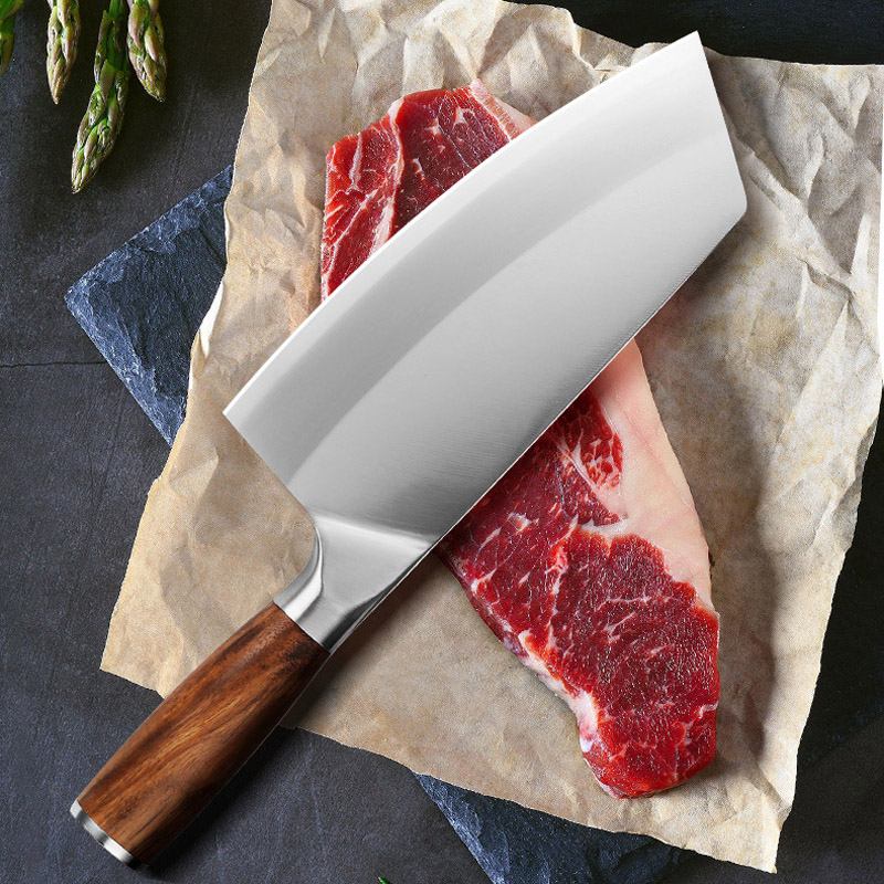 New 4Cr13mov Chef Knife 7 inch Chinese Kitchen Knives Meat Fish Vegetable Sliing Knife Super Sharp Blade Rosewood Hadle Clever