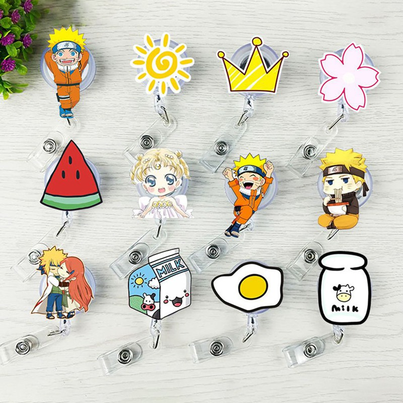 New Kind Of Lovely Fashion Cartoon Fruit Work Card Clip Cute Soft Rubber Easy Retractable Buckle Chest Clip