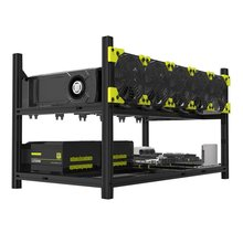 6 GPUs 5 Fans Low Noise Aluminum Stackable Open Air Mining Computer Frame Protective Net Mining Rack