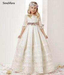 Белые платья для первого причастия для маленьких девочек цвета слоновой кости пышные платья с кружевными оборками и круглым вырезом для де...