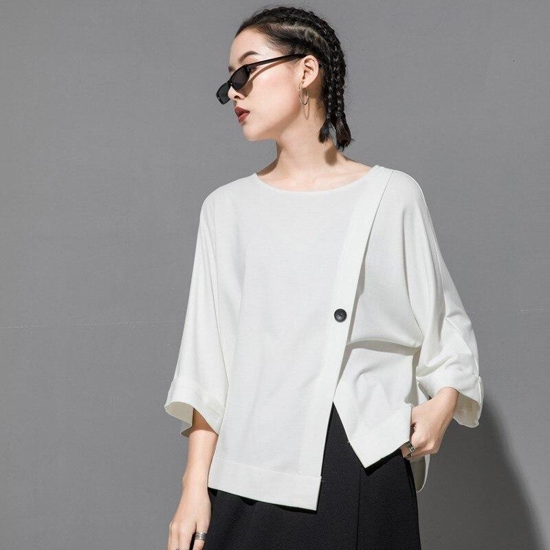 [EAM] 2020 New Spring Summer Round Neck Three Quarter Sleeve Hem Irregular Button Big Size T-shirt Women Fashion Tide JT233 5