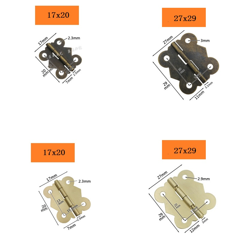 10Pcs Mini Butterfly Hinge For Cabinet Furniture Jewelry Wooden Boxes 4 Hole Vintage Hinge Bronze Gold 17*20mm 27*29mm