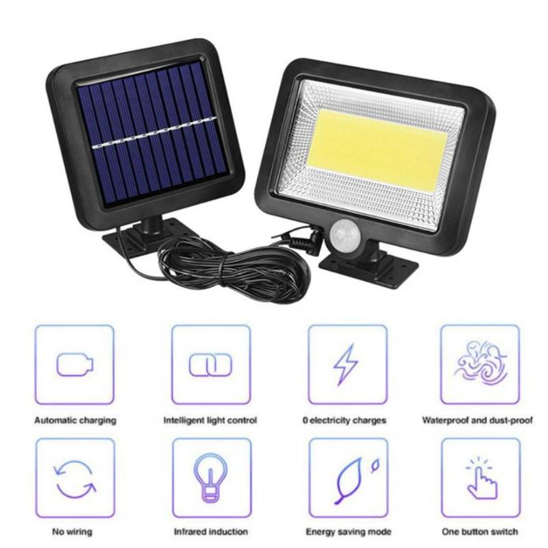 COB 100LED Solar Lamp Motion Sensor IP65 Waterproof Outdoor Path Night Lighting Solar Lights Illuminate Garden Courtyard Aisle