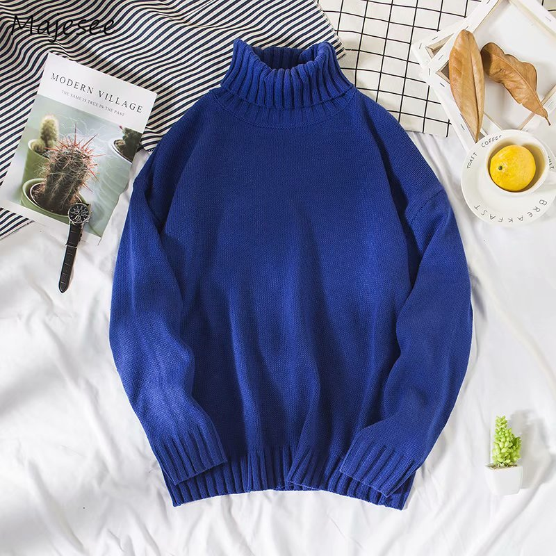Plus Size Sweater Men Casual High Quality Long Sleeve Solid All Match Mens Turtleneck Pullover Males Korean Fashion Clothes Soft