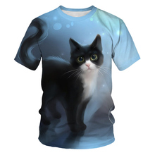 Summer Kids Boys Girl T Shirt Black Whitet Cat Print Short Sleeve Baby Girls T-shirts Children T-shirt O-neck Tee Tops Boy Cloth girls summer tops children t shirts baby clothes 2018 new autumn brand black velvet tees girl t shirt lace kids tee shirt fille