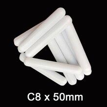 C8x50mm ptfe agitador magnético misturador barras de agitação sem anel de pivô liso agitando spinbars brancos, pacote de 10 pces
