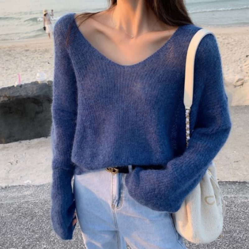Autumn Women Knitted Sweater Solid Color Mohair Pullover V Neck Sweet Loose Long-sleeve Knitwear Sweaters Jumper Pull Femme Tops