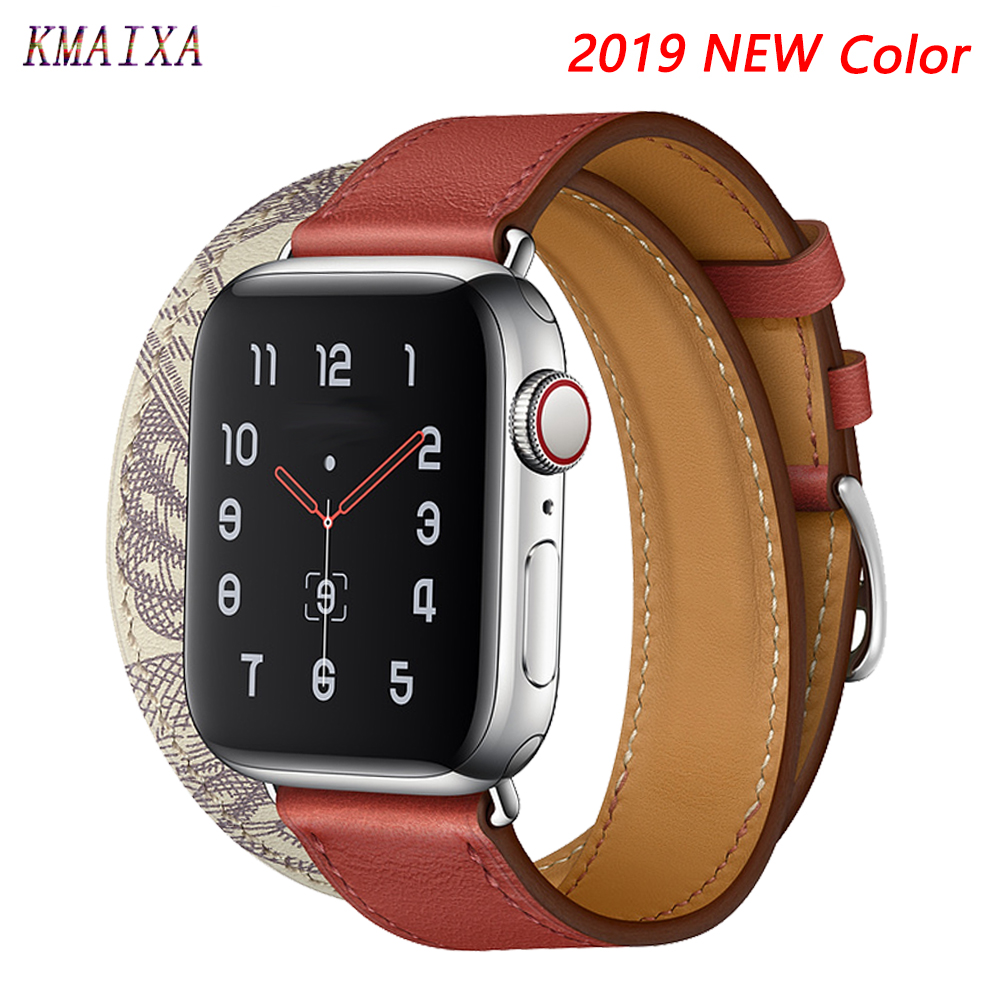 Leather Strap For Apple Watch 5 4 Band 44mm 40mm Iwatch Series 4 3 2 Correa Apple Watch 42mm 40mm Double Tour Bracelet Watchband