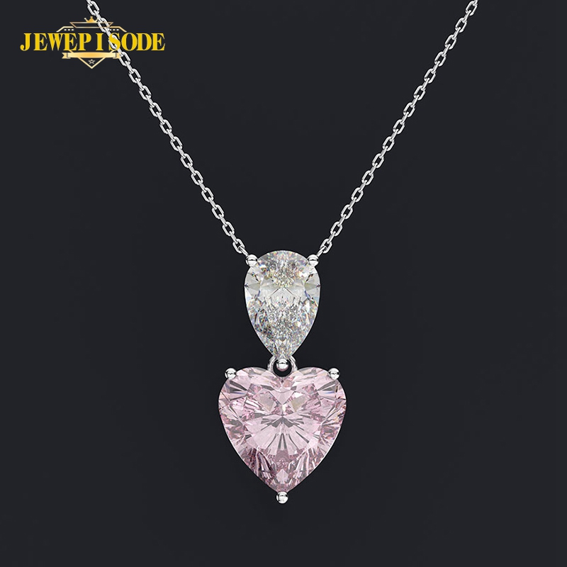 Jewepisode Solid 925 Sterling Silver Heart Pink Quartz Citrine Lab Moissanite Pendant Necklaces Wedding Fine Jewelry Necklace