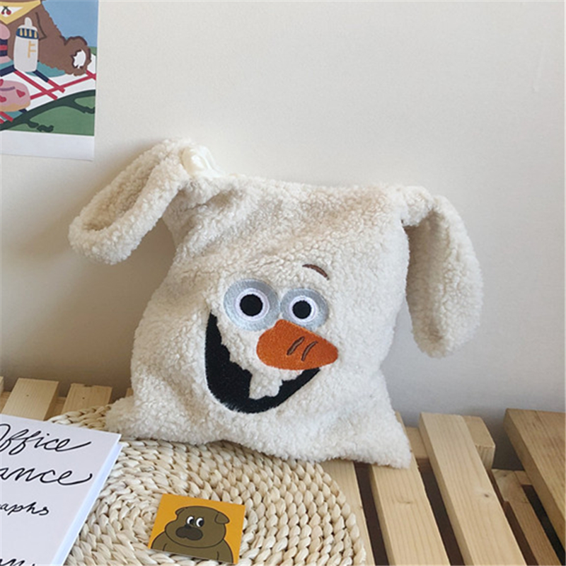 plush shoulder bag cute winter cartoon handbags milk cow pattern hand bag  women solid color ladies bag tote size 20*26cm