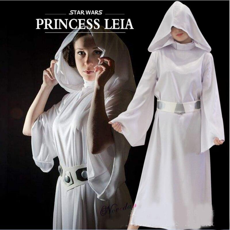 Star wars princesa leia escravo cosplay traje branco vestido longo robe conjuntos purim carnaval festa de halloween traje para mulher