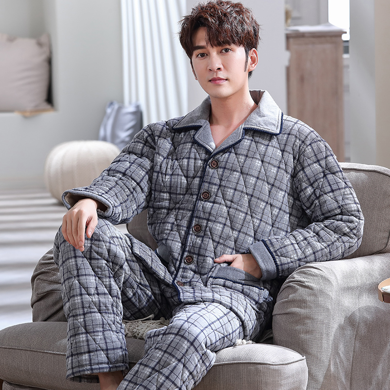 New Knit Cotton Padded Men Thick Plus Size L-3XL Winter Pajamas Set Homme Peignoir Pyjamas Warm Quilted Gray Plaid Pajamas Mens