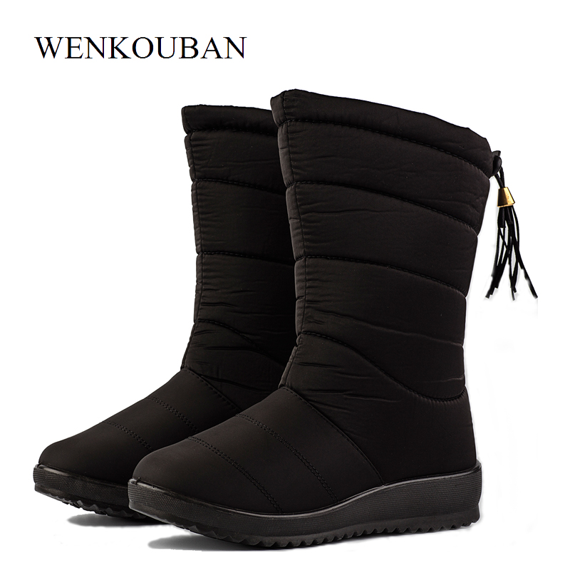 Female Mid-Calf Down Boots Waterproof Winter Boots  Women Warm Ladies Snow Bootie Wedge Rubber Plush Botas Mujer 2019