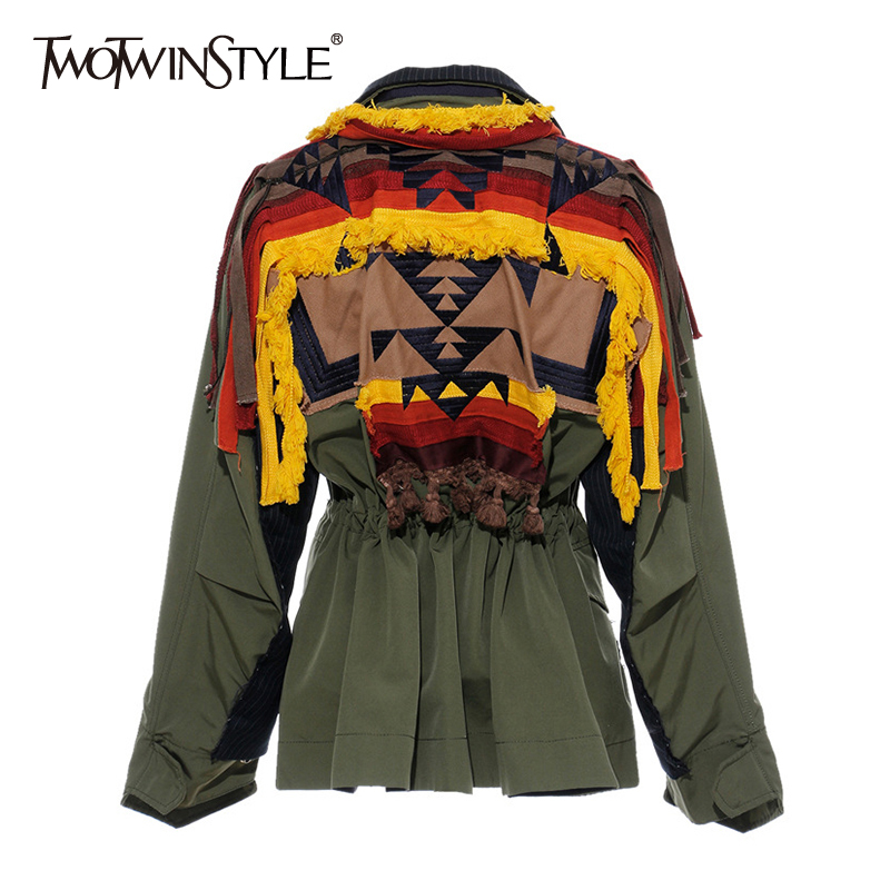 TWOTWINSTYLE Embroidery Hit Color Women's Jacket Lapel Collar Long Sleeve Tunic Tassel Patchwork Autumn Coats Female 2020 New