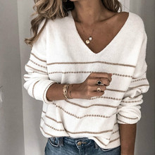 Striped Sweater Pullovers Fluffy Tops Knitwear V-Neck Long-Sleeve Fashion Women's Color-Block