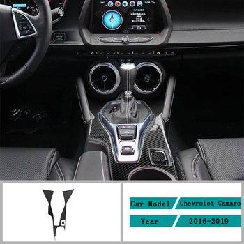 Carbon Fiber Car Accessories Interior Control Gear Box Shift Panel Decoration Cover Trim Stickers For Chevrolet Camaro 2016-2019