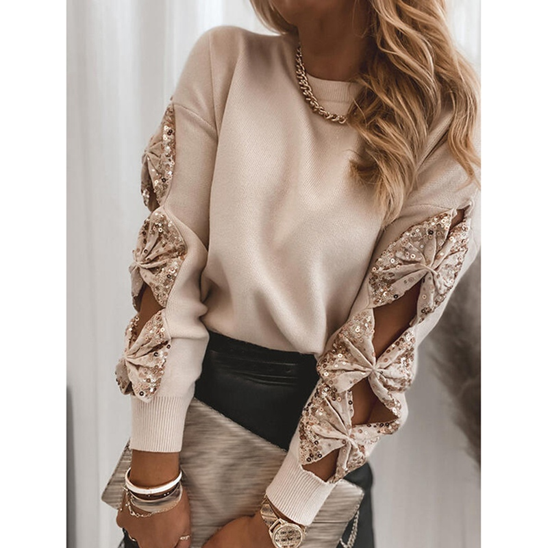 Women Elegant Solid V Neck Sequined Sweaters Autumn Long Sleeve Casual Pullover Tops Sexy Lady Off Shoulder Loose Sweater Jumper