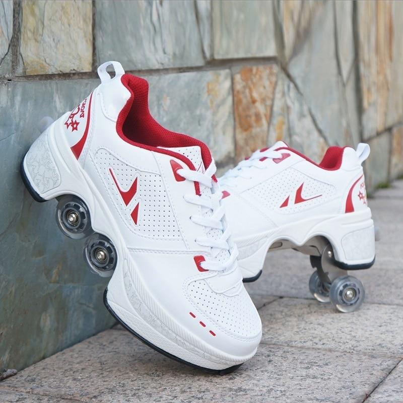 Déformer les patins à roulettes chaussures Double rangée Double roue chaussures de course automatique quatre roues Double usage Skateboard chaussures - 4