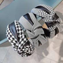 Dames Pu Leer Houndstooth Knoop Hoofdbanden Retro Zwart Patchwork Plaid Haarbanden Bezel Voor Vrouwen Meisjes Haar Hoepel Accessoires