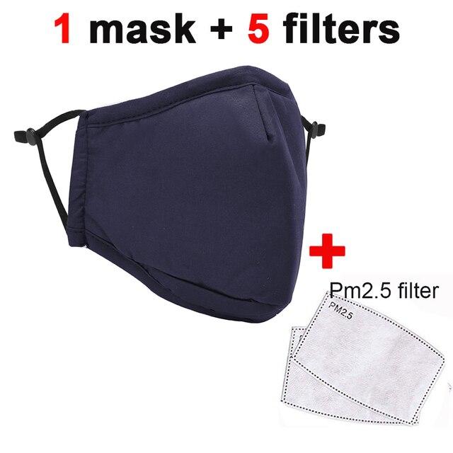 5pcs filters Kpop Cotton Mouth Face Mask Pm2.5 Anti-Dust Activated Carbon Filter Black Fabric Face Masks Reusable Washable Mask