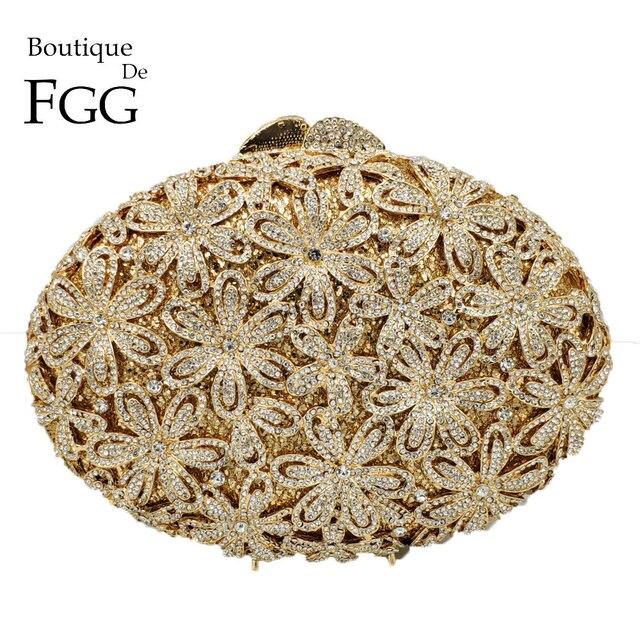 Boutique De FGG Socialite Hollow Out Women Flower Crystal Evening Bags Wedding Party Diamond Minaudiere Handbag Bridal Clutch
