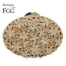 Boutique De FGG Socialite Scava Fuori Delle Donne Del Fiore di Cristallo Sacchetti di Sera di Cerimonia Nuziale Del Partito Del Diamante di Minaudiere Borsa Da Sposa Frizione