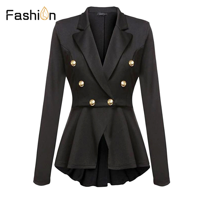 2020 Stylish Designer Blazer Women's Double Breasted Buttons Slim Fitting Blazer Jacket Black Blazers Winter Clothes Women Suit