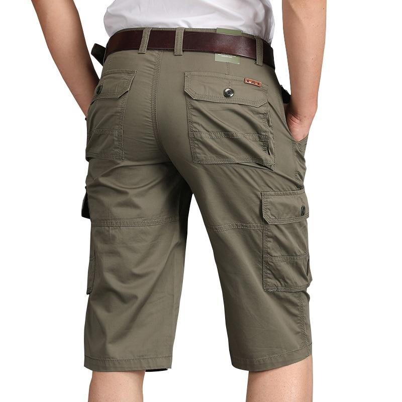 Summer  Casual  Cotton Mens Cargo Shorts Cropped Outdoor Bermuda Shorts
