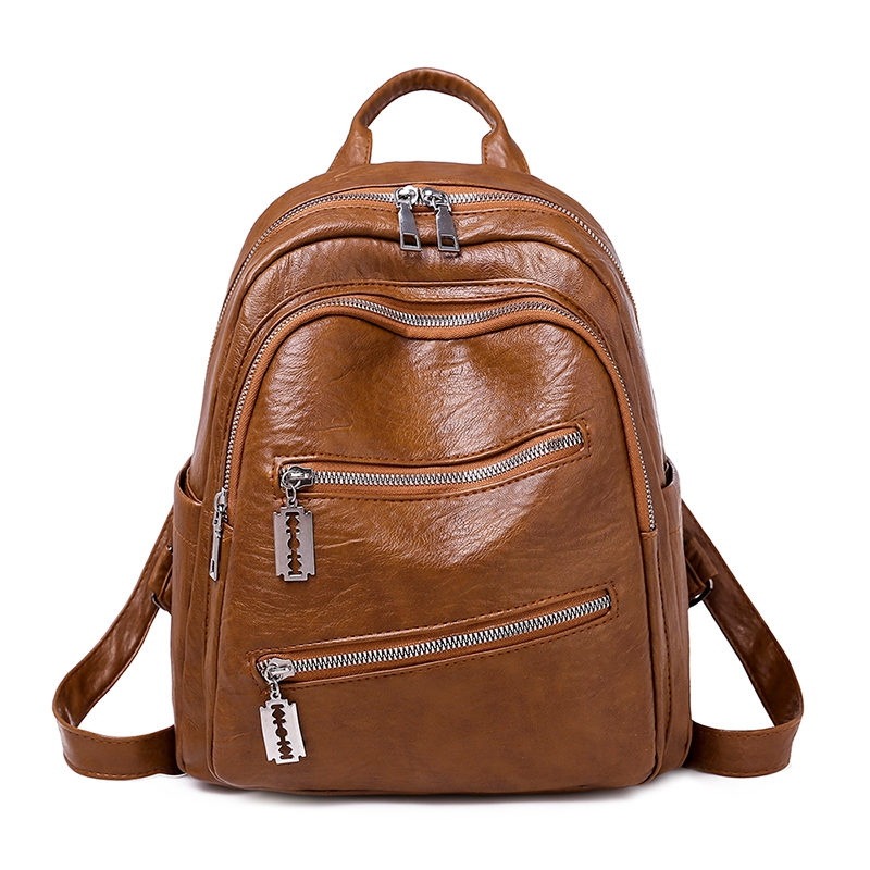 HEFLASHOR Fashion Simple Style Soft School Backpack Artificial PU Leather Women Shoulder Bag Floral School Bag For Teens Girls