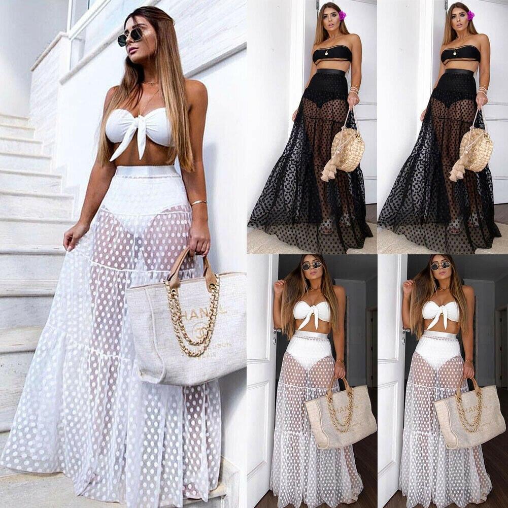 Summer Swimwear Women Maxi Skirt See Through Polka Dot Pleated Retro Swimsuit Bikini Cover Up Elastic Waist Bathing Skirts