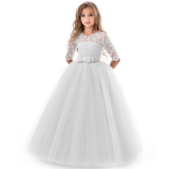 2020 Summer White Bridesmaid Girl Party Dress Wedding Dress Kids Dresses For Girls Children Clothing Princess Dress 10 12 Years