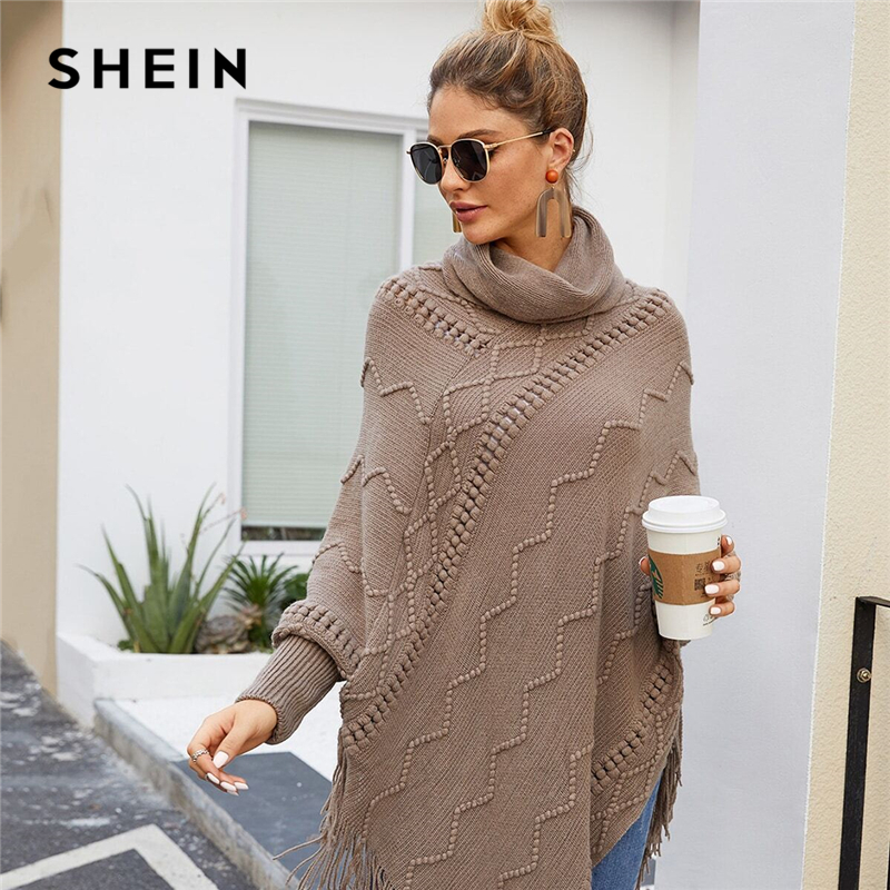 SHEIN High Neck Solid Fringe Hem Casual Poncho Sweater Women Tops Autumn Winter Streetwear Long Sleeve Ladies Longline Sweaters