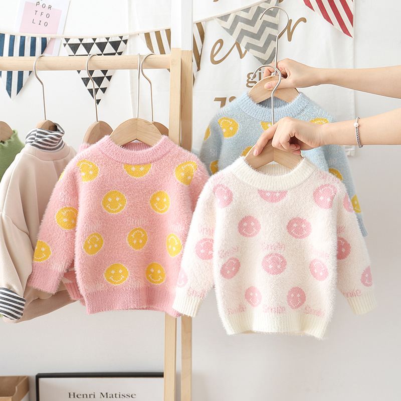 Girl'S Sweater Base Shirt Children Female Baby Winter New Style Mink Cashmere Sweater Western Style Fashion