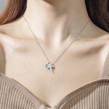 Silver Mermaid Tail Pendant Necklaces with Blue Crystal Tears Bubble Necklace For Women Fashion Jewelry