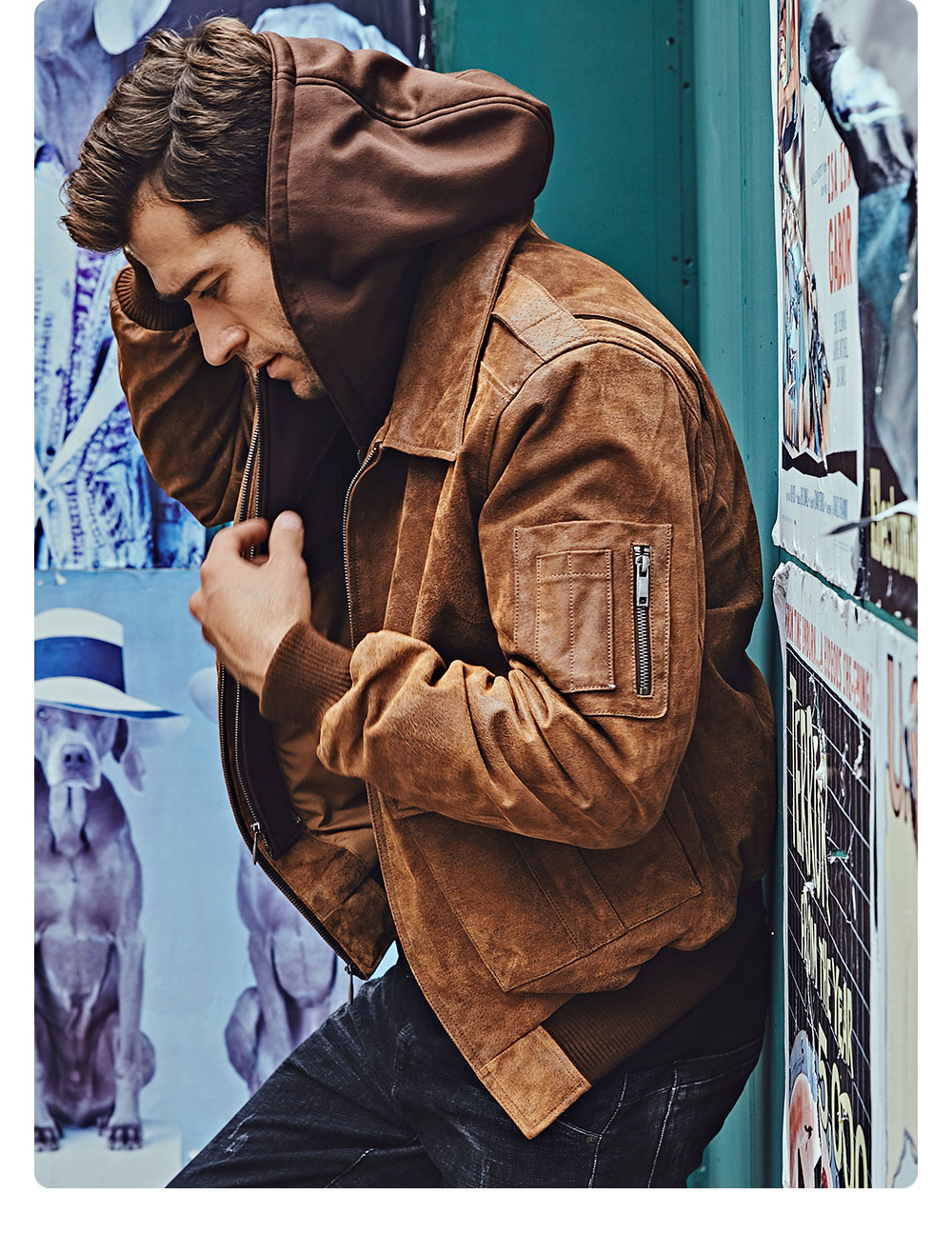 H61a9c9aaf09f44a0bef0372f788bc9feC FLAVOR New Men's Genuine Leather Bomber Jackets Removable Hood Men Air Forca Aviator winter coat Men Warm Real Leather Jacket