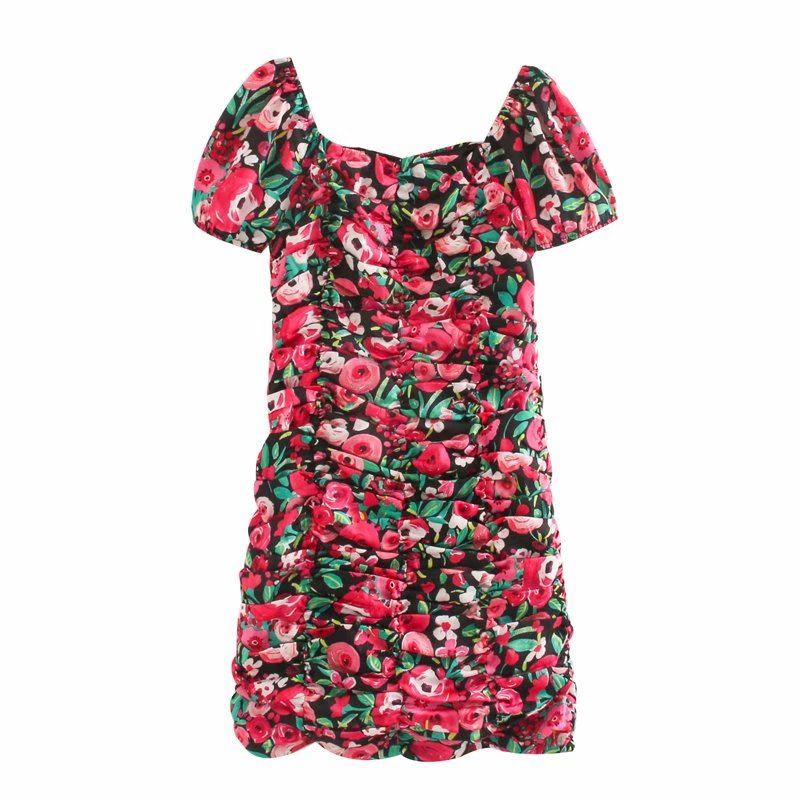 New 2020 women elegant lantern sleeve contrast color flower print pleated slim mini dress lady chic back zipper vestidos DS3573
