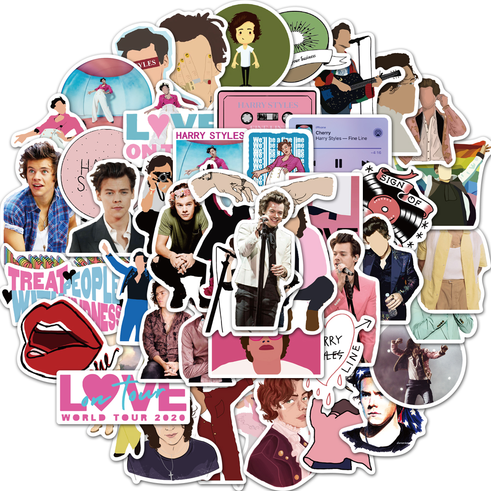 50Pcs Not Repeat British Singer Harry Style Luggage Stickers for Fans Gifts to DIY Laptop Phone Fridge Guitar Water Bottle Decor