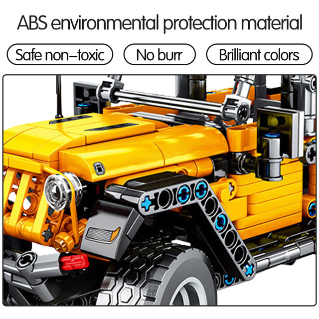 601pcs Creator Mechanical Pull Back Jeeped Off-road Vehicle Building Blocks For City Technic Car Bricks Toys For Boys