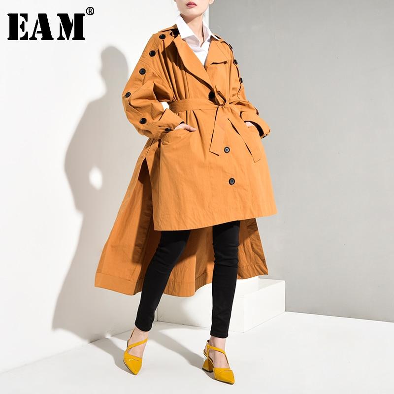 [EAM] Women Yelloe Back Long Button Big Size Trench New Lapel Long Sleeve Loose Fit Windbreaker Fashion Tide Spring 2020 YA052