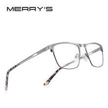 MERRYS-gafas de lectura de aleación de titanio para hombre y mujer, lentes de resina con bloqueo de luz azul, CR-39, S2281FLH
