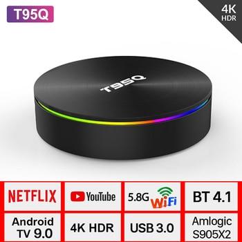 T95Q Android 9.0 TV BOX 4GB DDR3 32GB/64GB eMMC 4K Media Player Amlogic S905X2 Quad Core 2.4G/5GHz Dual Wifi 100M Smart TV Box