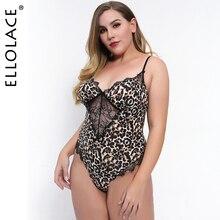 Ellolace Plus Size Lace Bodysuit Leopard Women Bodys Sleeveless Bodycon Overalls
