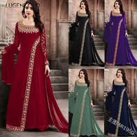 Lugentolo Dress Women Vintage Lace Stitching Long Sleeve Lace Irregular Round Neck Hot Stamping Chiffon Dresses Plus Size 5XL