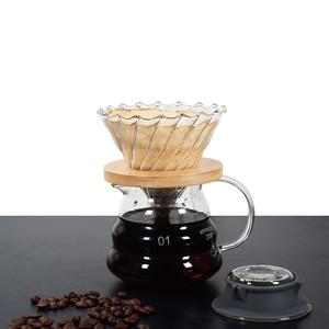 Image 4 - 500ML/300ML di Legno staffe di Caffè di Vetro Dripper e Pot Set Japness stile V60 di Caffè di Vetro Filtro Riutilizzabile filtri di caffè