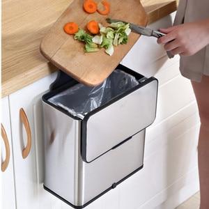 Кухонный мусорный бак из нержавеющей стали, мусорное ведро с двойным стволом, ванная комната, настенный мусорный бак с подвижными крышками, ...