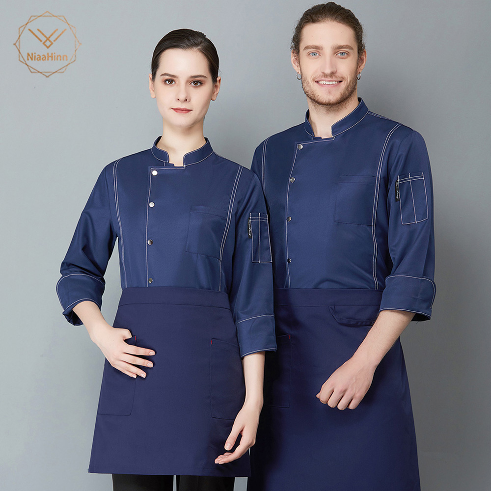 Black Long Sleeve Cook Work Uniforms Restaurant Hotel Kitchen High Quality Chef Uniform Chef Jacket Workwear Clothing Chef Tops