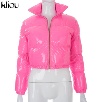 Kliou Crop Bubble Puffer Coat Winter Parkas Faux PU Leather Warm Long Sleeve Women Outerwear Zipper Casual Solid Slim Hot Jacket 8