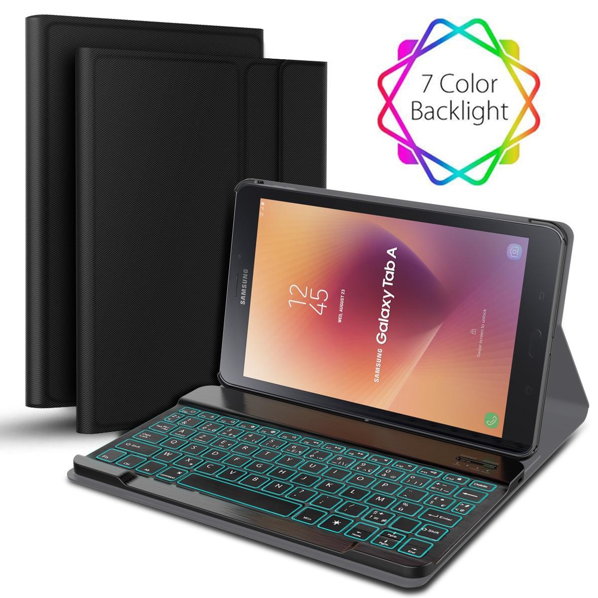 7 couleurs rétro-éclairé français clavier étui pour samsung Galaxy Tab A2 10.5 T595 T590 séparable tablette Bluetooth clavier étui en cuir