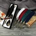 Роскошный набор ручек с золотыми перьями  металлический держатель для ручек с чернилами для каллиграфии  перьевая ручка  деловой подарок  п...