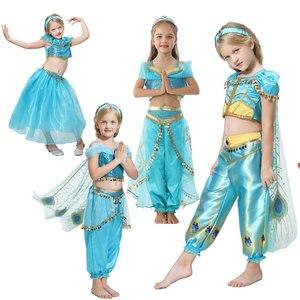Аладдин, жасмин платье принцессы для подростков, карнавальный костюм для девочек на Хэллоуин Детский вверх вечерние Маскировка церемонии д...